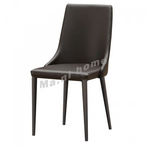 CATIA synthetic leatherdining chair, black+grey frame , 813856