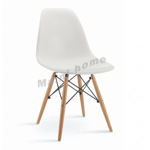 EAMES 型格餐椅, 白色, 櫸木色腳,, 811162