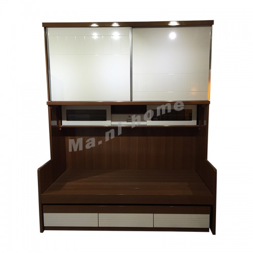 MULTI 900 bed with wardrobe and extendable bed, walnut color+white, 809932