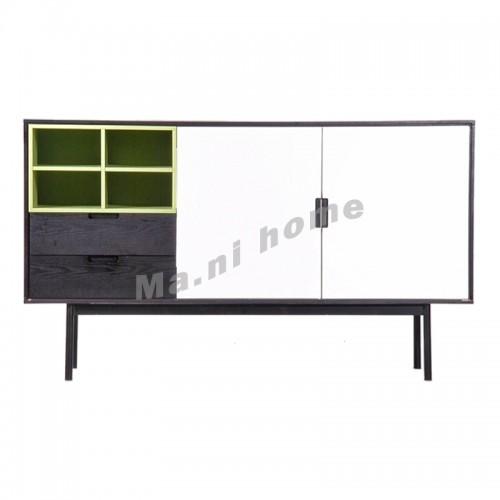 LEGOO 1500 sideboard, black oak veneer+white+green, 811970