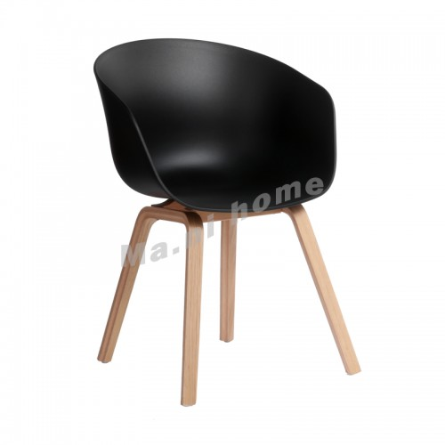 LINEA dining chair, black+natural wooden legs, 813451