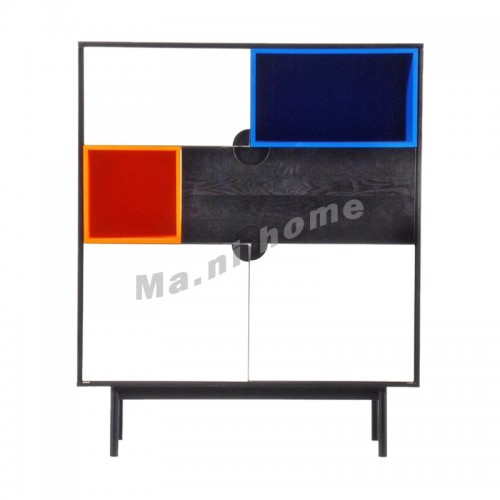 LEGOO 1000 sideboard, oak veneer, black+white+blue+orange, 811971