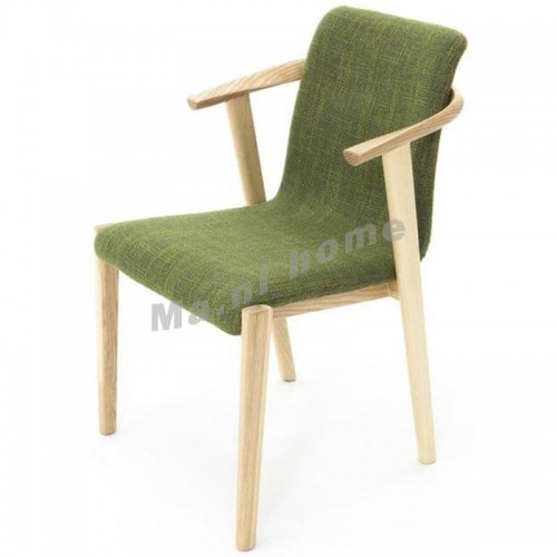 ALINE 500 dining chair w/arm, white ash+green,803736