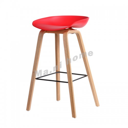 LINEA bar stool, red+natural color legs, 813434