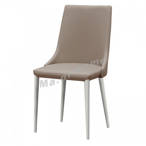CATIA synthetic leather dining chair, almond+white frame , 813855