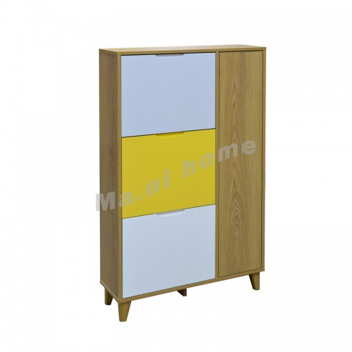 SINE 750 shoes cabinet, veneer+grey+yellow+white, 814631