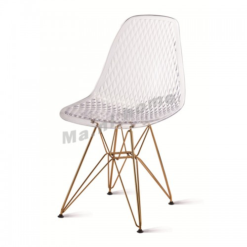 PROFILO dining chair, clear, gold color frame, 813102