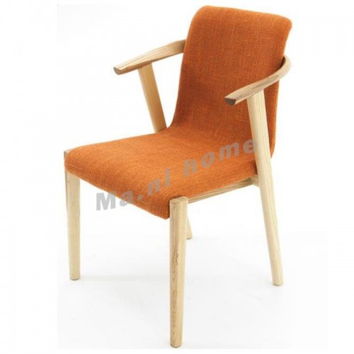 ALINE 500 dining chair w/arm, white ash+orange,803734